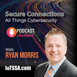 A blue shield with binary code coming out of it with the words Podcast Secure Connection loTSSA.com under it.